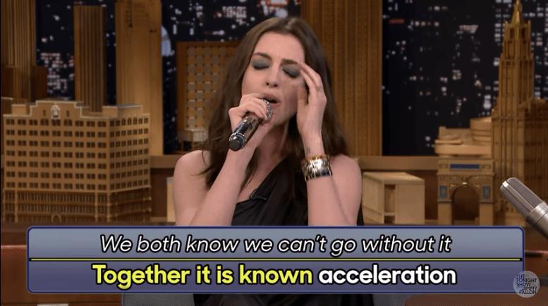 Anne Hathaway singing google translate