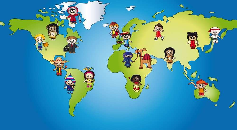 people on map around the world