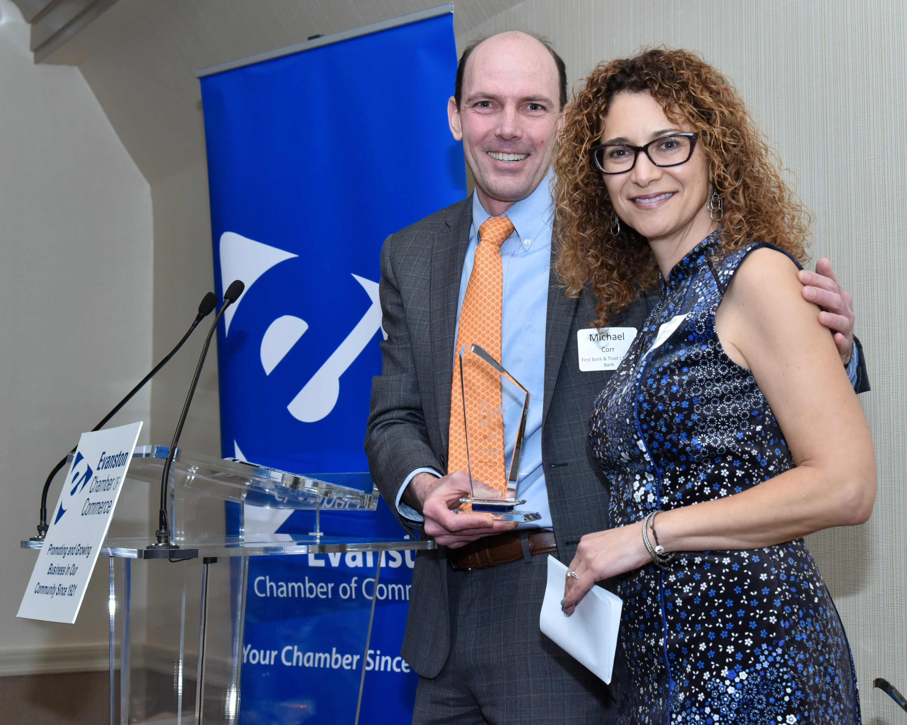 b472eb83f74d Dr. Jill Bishop of Multilingual Connections and Michael Coor of Byline Bank