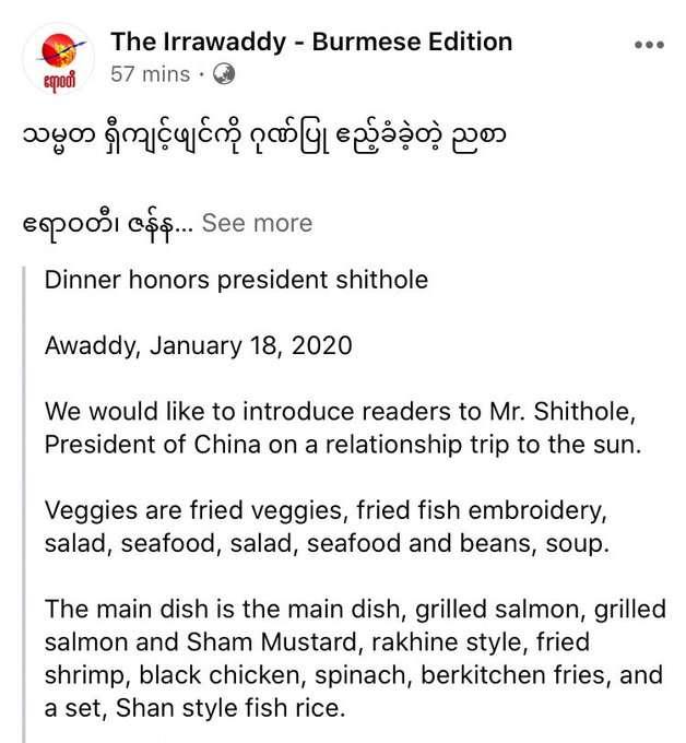 "Facebook's machine translation engine translated China's leader Xi Jinping's name as ""Mr. Shithole"" from Burmese to English"